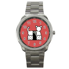 Sushi Cat Japanese Food Sport Metal Watch by Mariart