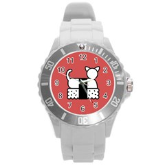 Sushi Cat Japanese Food Round Plastic Sport Watch (l) by Mariart