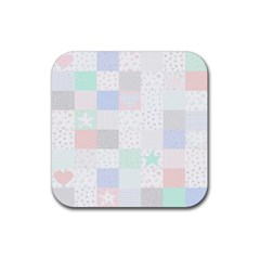 Sweet Dreams Rag Quilt Rubber Square Coaster (4 Pack)  by Mariart