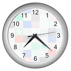 Sweet Dreams Rag Quilt Wall Clocks (silver)  by Mariart
