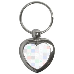 Sweet Dreams Rag Quilt Key Chains (heart)  by Mariart