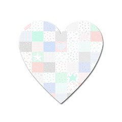 Sweet Dreams Rag Quilt Heart Magnet by Mariart