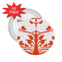 Tree Leaf Flower Orange Sexy Star 2 25  Buttons (10 Pack)  by Mariart