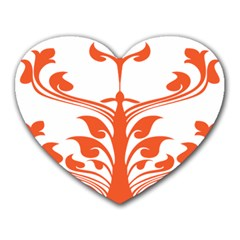 Tree Leaf Flower Orange Sexy Star Heart Mousepads by Mariart