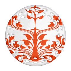 Tree Leaf Flower Orange Sexy Star Round Filigree Ornament (two Sides) by Mariart