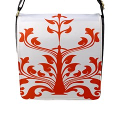 Tree Leaf Flower Orange Sexy Star Flap Messenger Bag (l)  by Mariart