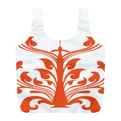 Tree Leaf Flower Orange Sexy Star Full Print Recycle Bags (l)  by Mariart