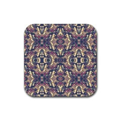 Multicolored Modern Geometric Pattern Rubber Coaster (square)  by dflcprints