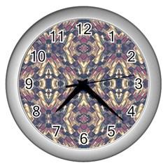 Multicolored Modern Geometric Pattern Wall Clocks (silver)  by dflcprints