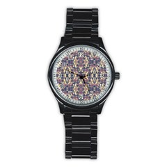 Multicolored Modern Geometric Pattern Stainless Steel Round Watch by dflcprints