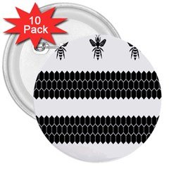 Wasp Bee Hive Black Animals 3  Buttons (10 Pack)  by Mariart