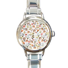 Cute Owl Round Italian Charm Watch
