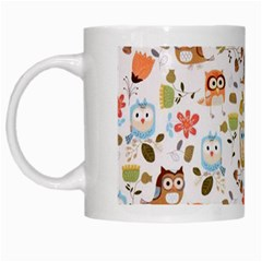 Cute Owl White Mugs by Nexatart