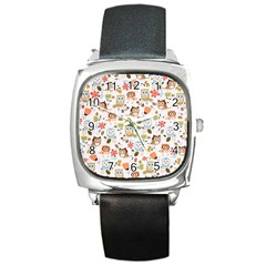 Cute Owl Square Metal Watch by Nexatart