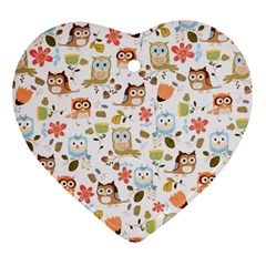 Cute Owl Heart Ornament (two Sides)