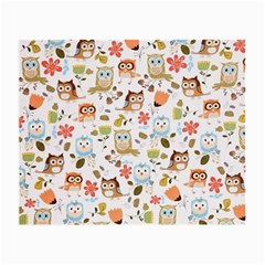Cute Owl Small Glasses Cloth (2 Side) by Nexatart