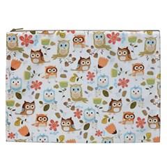 Cute Owl Cosmetic Bag (xxl)  by Nexatart