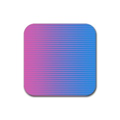 Turquoise Pink Stripe Light Blue Rubber Square Coaster (4 Pack)  by Mariart