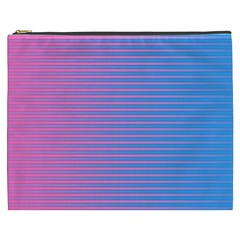 Turquoise Pink Stripe Light Blue Cosmetic Bag (xxxl)  by Mariart