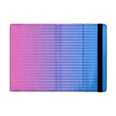 Turquoise Pink Stripe Light Blue Apple Ipad Mini Flip Case