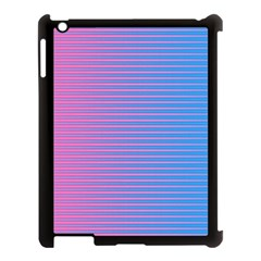 Turquoise Pink Stripe Light Blue Apple Ipad 3/4 Case (black) by Mariart