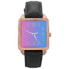 Turquoise Pink Stripe Light Blue Rose Gold Leather Watch  by Mariart