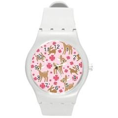 Preety Deer Cute Round Plastic Sport Watch (m)