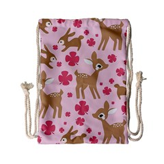 Preety Deer Cute Drawstring Bag (small) by Nexatart