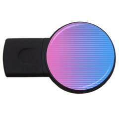 Turquoise Pink Stripe Light Blue Usb Flash Drive Round (2 Gb) by Mariart