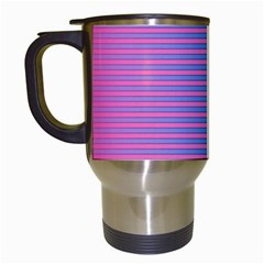 Turquoise Pink Stripe Light Blue Travel Mugs (white) by Mariart