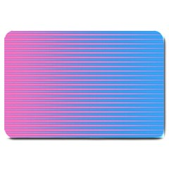 Turquoise Pink Stripe Light Blue Large Doormat  by Mariart
