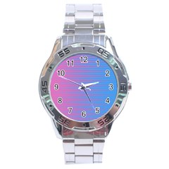 Turquoise Pink Stripe Light Blue Stainless Steel Analogue Watch by Mariart