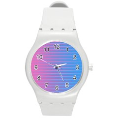 Turquoise Pink Stripe Light Blue Round Plastic Sport Watch (m) by Mariart