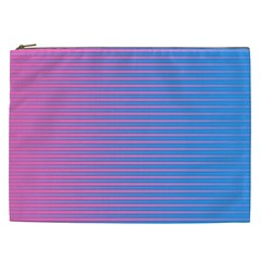 Turquoise Pink Stripe Light Blue Cosmetic Bag (xxl)  by Mariart
