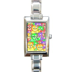 Cute Cartoon Crowd Of Colourful Kids Bears Rectangle Italian Charm Watch by Nexatart