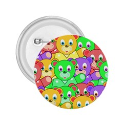Cute Cartoon Crowd Of Colourful Kids Bears 2 25  Buttons by Nexatart
