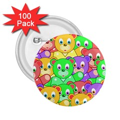 Cute Cartoon Crowd Of Colourful Kids Bears 2 25  Buttons (100 Pack)  by Nexatart
