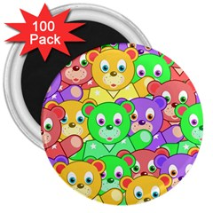Cute Cartoon Crowd Of Colourful Kids Bears 3  Magnets (100 Pack) by Nexatart