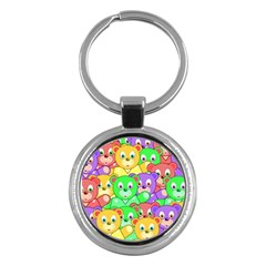 Cute Cartoon Crowd Of Colourful Kids Bears Key Chains (round)