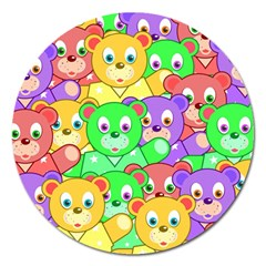 Cute Cartoon Crowd Of Colourful Kids Bears Magnet 5  (round)