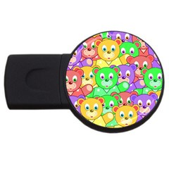 Cute Cartoon Crowd Of Colourful Kids Bears Usb Flash Drive Round (2 Gb) by Nexatart