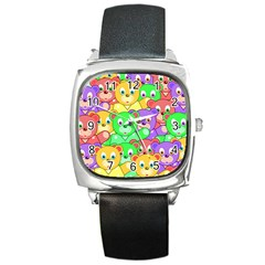 Cute Cartoon Crowd Of Colourful Kids Bears Square Metal Watch by Nexatart