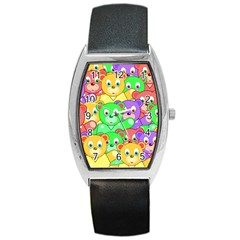 Cute Cartoon Crowd Of Colourful Kids Bears Barrel Style Metal Watch by Nexatart
