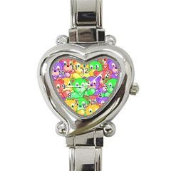 Cute Cartoon Crowd Of Colourful Kids Bears Heart Italian Charm Watch by Nexatart