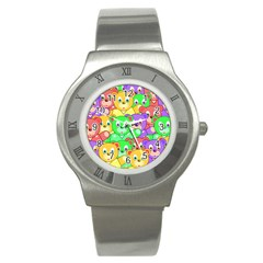 Cute Cartoon Crowd Of Colourful Kids Bears Stainless Steel Watch by Nexatart