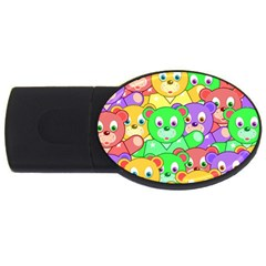 Cute Cartoon Crowd Of Colourful Kids Bears Usb Flash Drive Oval (4 Gb) by Nexatart