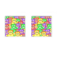 Cute Cartoon Crowd Of Colourful Kids Bears Cufflinks (square) by Nexatart