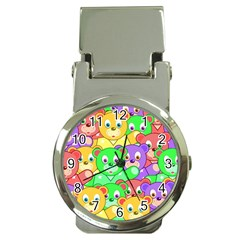 Cute Cartoon Crowd Of Colourful Kids Bears Money Clip Watches