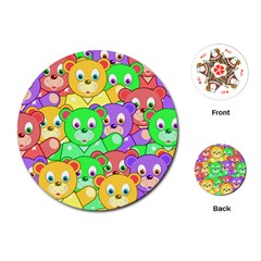 Cute Cartoon Crowd Of Colourful Kids Bears Playing Cards (round)  by Nexatart