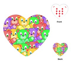 Cute Cartoon Crowd Of Colourful Kids Bears Playing Cards (heart)  by Nexatart